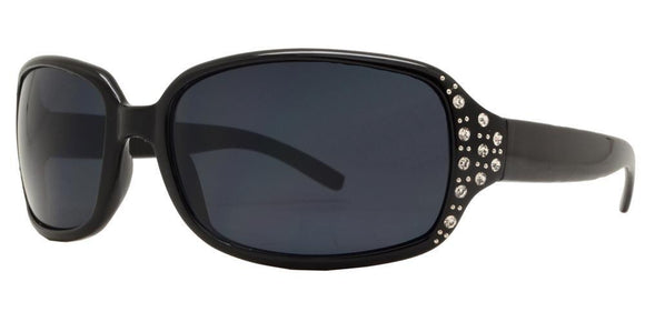 pL8335ez Black Ladies Rhinestone Polarized Sunglasses