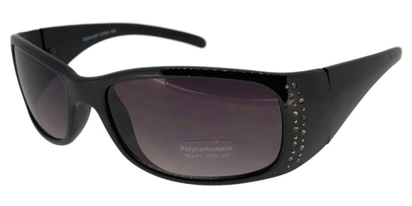 F3727B Black Skinny Rectangle Rhinestone Sunglasses