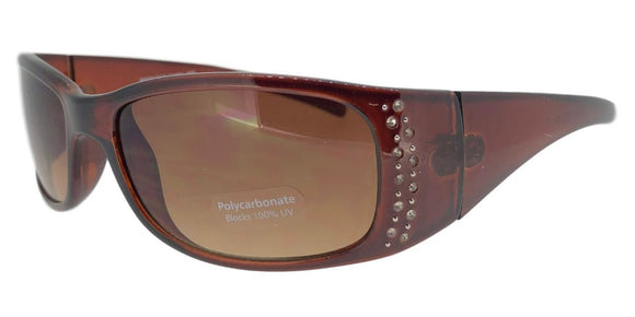 F3727B Brown Skinny Rectangle Rhinestone Sunglasses