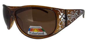 pL74130qm Brown Ladies Rhinestone Polarized Sunglasses