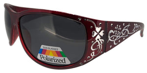 pL74130qm Red Ladies Rhinestone Polarized Sunglasses