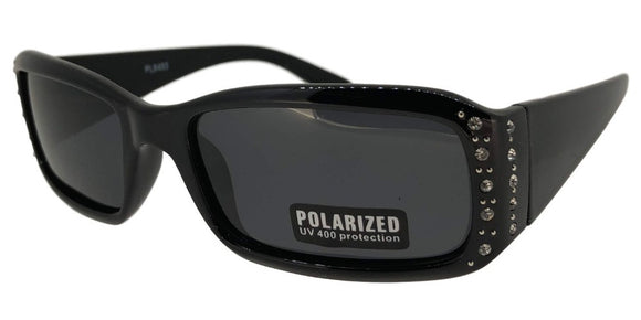 pL8493 Black Ladies Rhinestone Polarized Sunglasses
