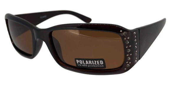 pL8493 Brown Ladies Rhinestone Polarized Sunglasses