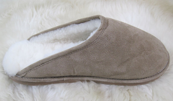 Scuff Slipper - White Cream Fleece - Rubber Sole (Men's)