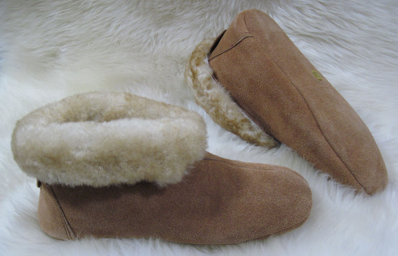 Booty Slipper - Leather Soft Sole - Stoney Fleece  (Women's and Men's)