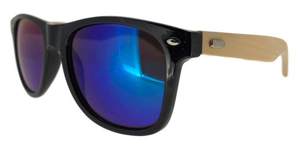 FRV0019U Blue Mirror Wood Wayfarer Sunglasses