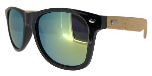 FRV0019U Yellow Mirror Wood Wayfarer Sunglasses