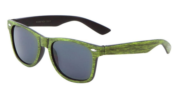 F703GG Mossy Green Wood Wayfarer Sunglasses
