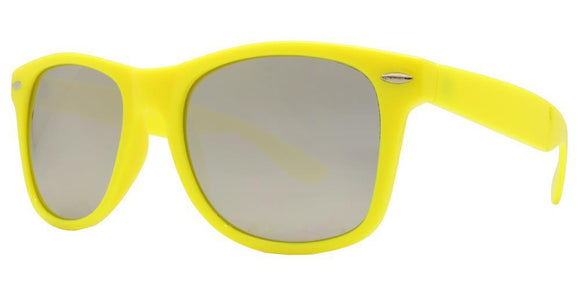 6M-15KZ Yellow Silver Mirror Wayfarer Sunglasses
