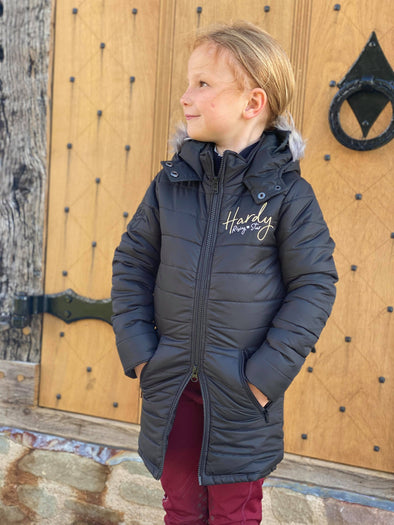 Hardy Equestrian Children's Rising Star Black Padded Long Riding Coat
