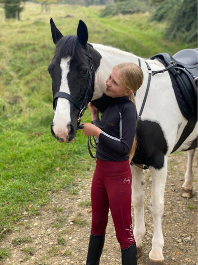 Hardy Equestrian Children's Riding Star Burgundy Riding Leggings 2