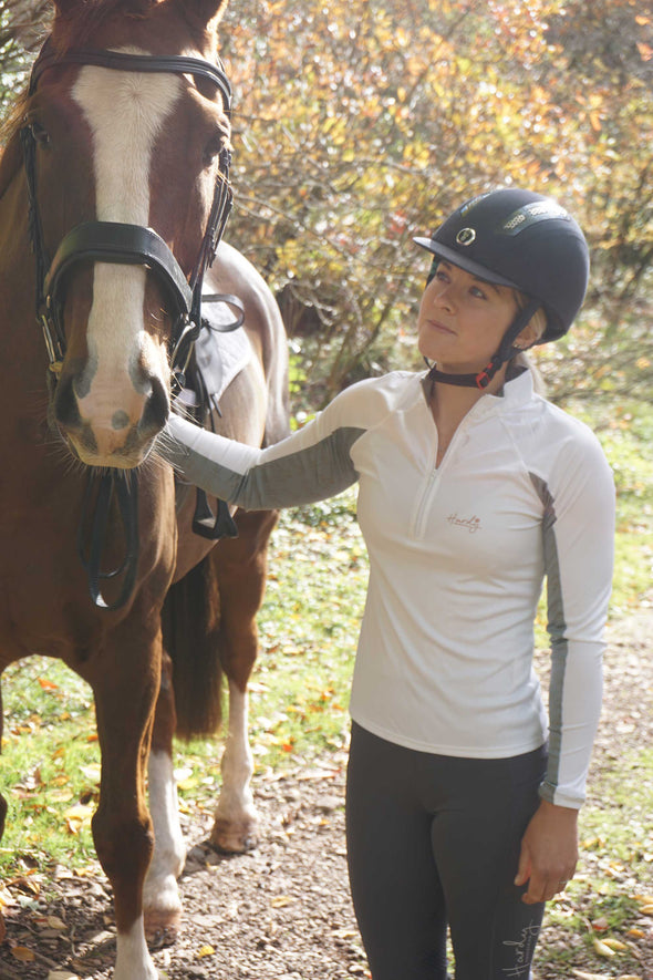 Hardy Equestrian Women's White Zip Base Layer 3