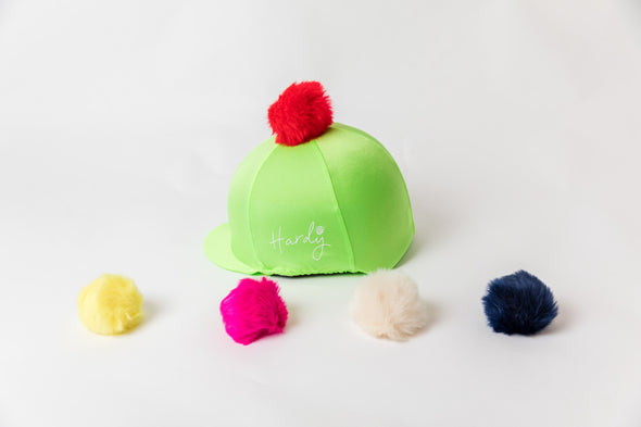 Hardy Equestrian Perton Lime Green Hat Silk With Removable Pom Pom
