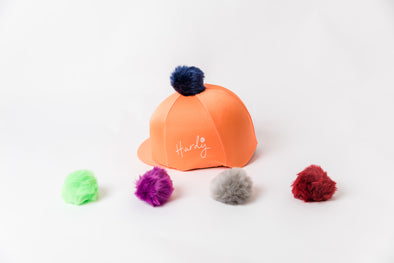 Hardy Equestrian Perton Orange Hat Silk With Removable Pom Pom
