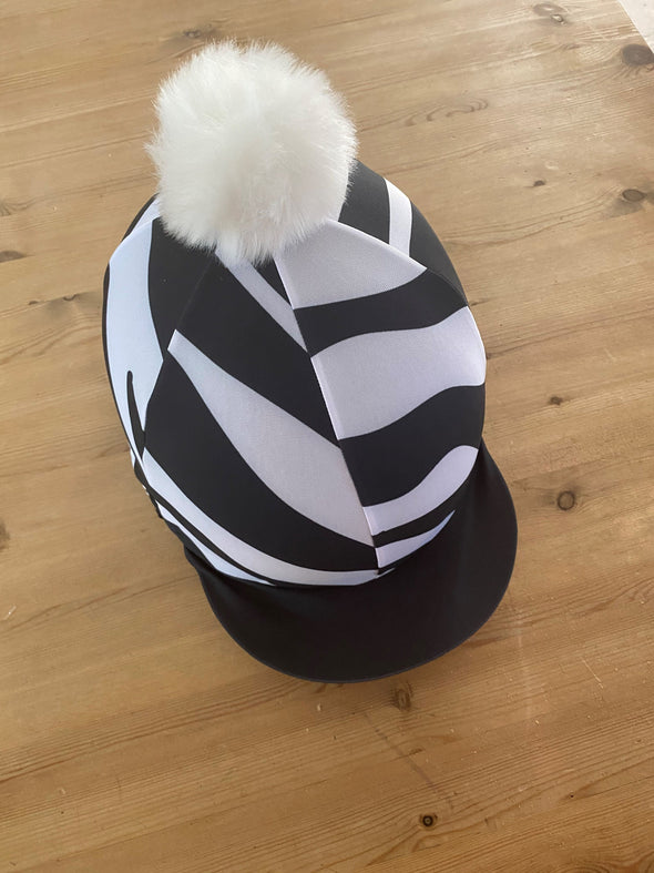 Hardy Equestrian Zebra Hat Silk With Removable Pom Pom 2