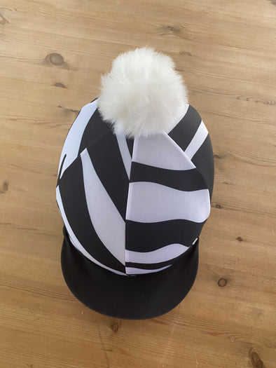 Hardy Equestrian Zebra Hat Silk With Removable Pom Pom