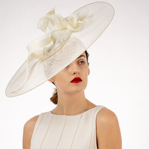 White sinamay fascinator Kentucky derby hats Hat Haven Louisville hat maker bridal headwear