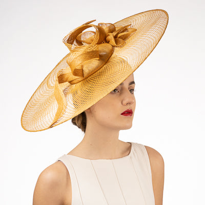 Gold fascinator millinery hat shop Louisville Kentucky Hat Haven