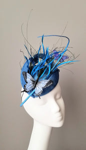 Blue butterfly fascinator bespoke hats Louisville Kentucky Hat Haven