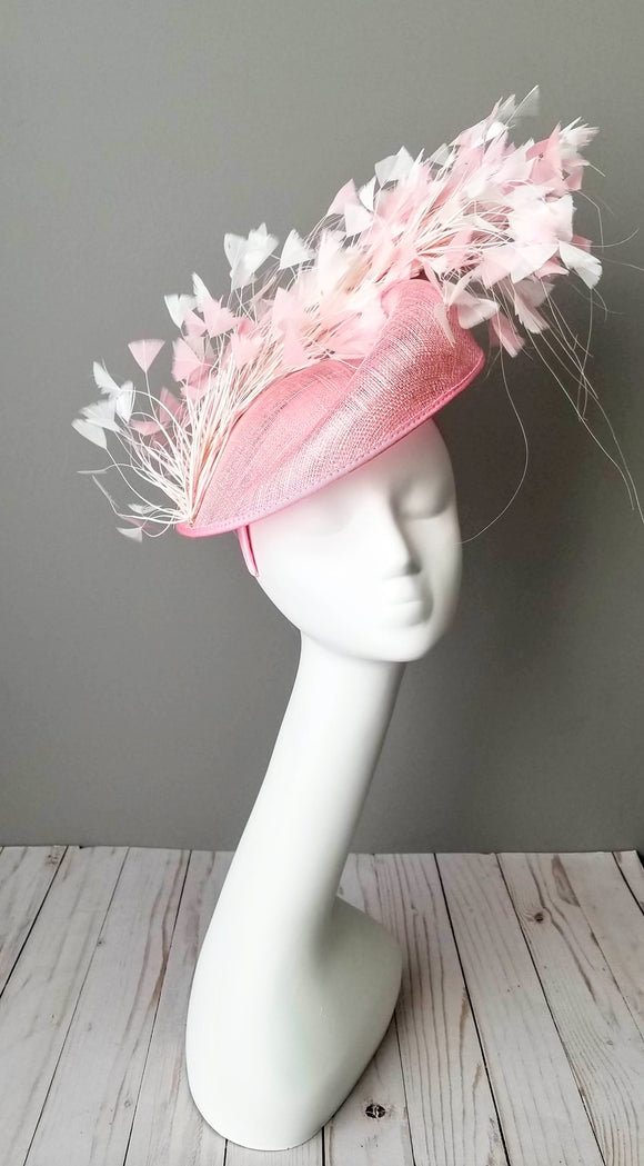 Pink sinamay fascinator Kentucky derby hats Louisville Hat maker Hat Haven