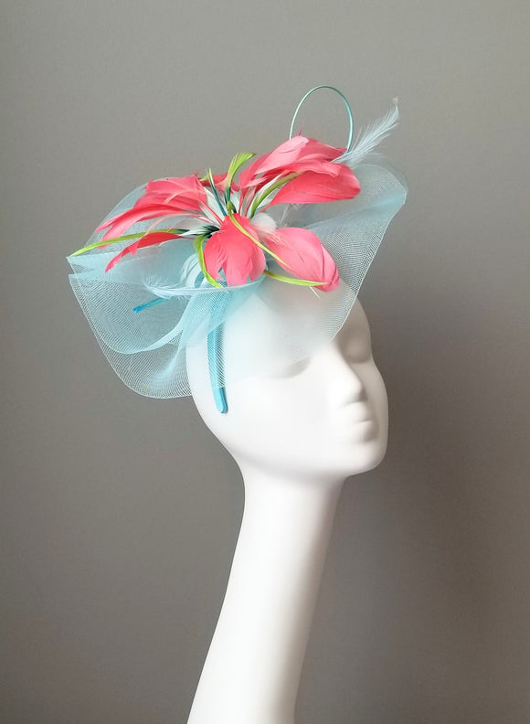 Turquoise blue fascinator Louisville Hat Haven