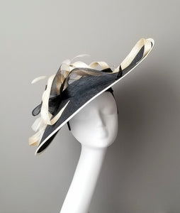 Black and white fascinator Hat Haven Louisville hat shop