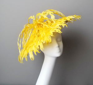 Yellow fascinator hat shop Louisville Hat Haven hat maker