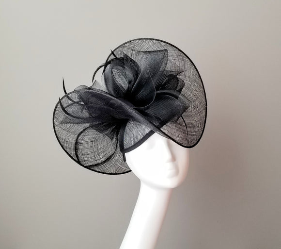 Black sinamay fascinator hat shop Louisville Hat Haven