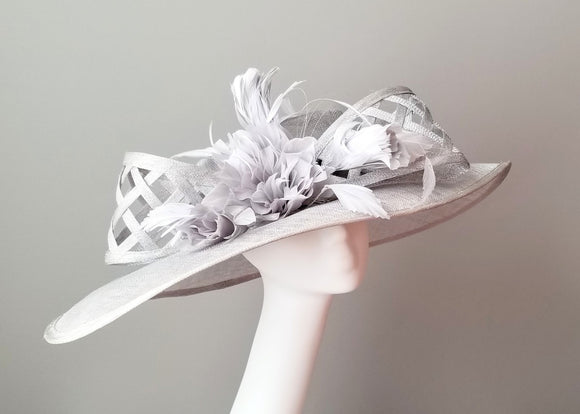 Silver ladies hat for Kentucky derby.  Millinery hat shop Louisville. Custom hat maker Hat Haven.