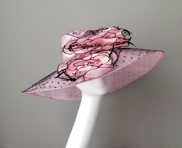 Pink polka dot ladies hat for Kentucky derby Hat Have hat shop Louisville