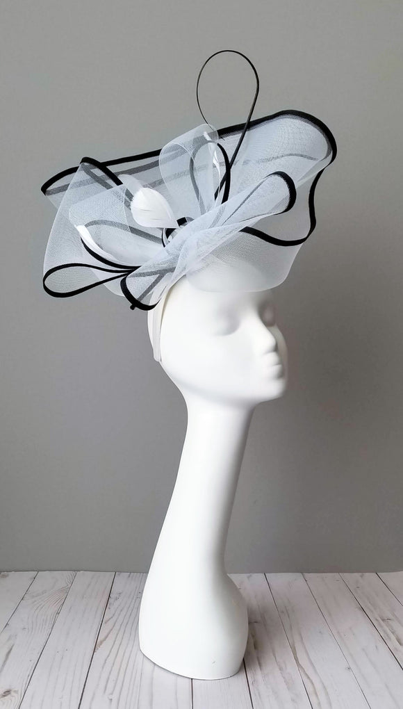 Black and white fascinator Hat Haven Louisville hat shop millinery hat maker Louisville Kentucky