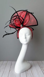 Red and black fascinator Kentucky Derby hat shop Louisville Hat maker Hat Haven milliner