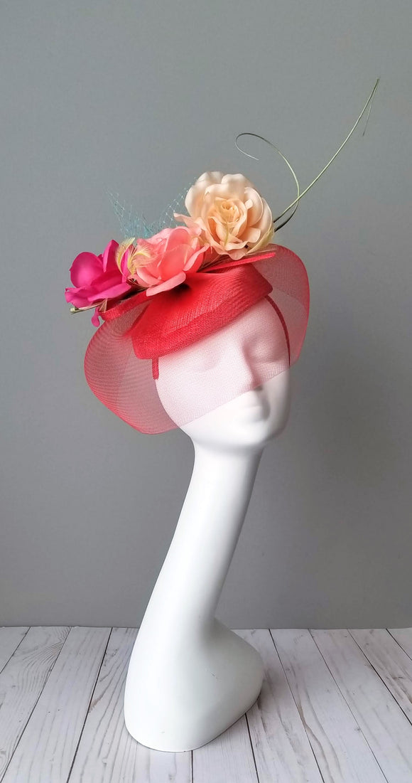 Red fascinator Kentucky derby hats Louisville Hat Haven Hat Shop