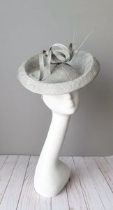 Grey fascinator silver sinamay hat shop Louisville Kentucky Hat Haven milliner