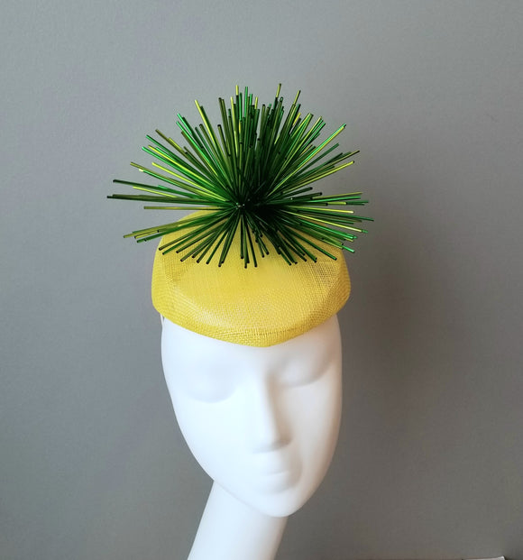 Ladies fascinator. Yellow and green fascinator. Custom fascinator. Ladies Kentucky Derby hats and fascinators in Louisville Kentucky. Hat Haven hat shop.