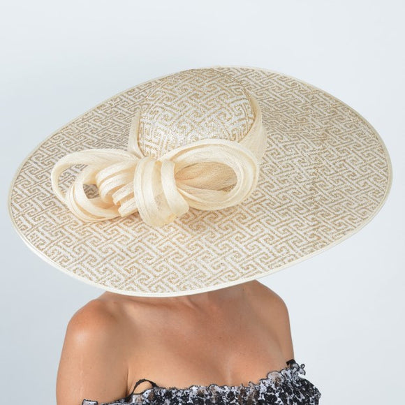 Gold Kentucky derby hat. Custom hat maker Hat Haven in Louisville Kentucky. Millinery hat shop Louisville.
