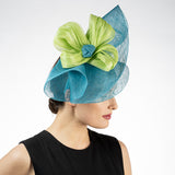 Blue and green fascinator Kentucky derby hat maker louisville Hat Haven