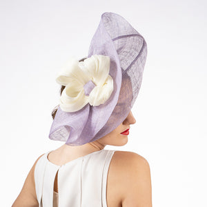 Purple fascinator hat shop Louisville Hat Haven hat maker sinamay