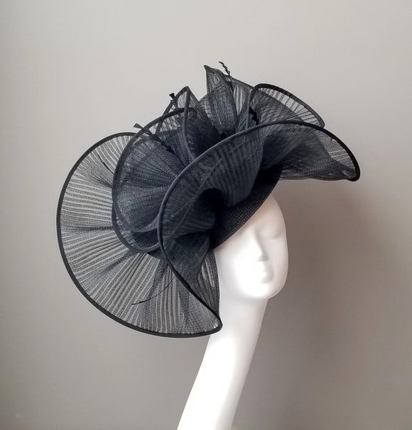 Black fascinator for Kentucky derby or wedding hat. Custom hat maker Hat Haven in Louisville Kentucky. Millinery hat shop Louisville.