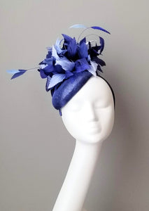 Blue fascinator hat shop Louisville Kentucky Hat Haven milliner sinamay