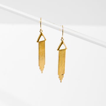 Art Deco style metal stampings. Earrings are approx. 1 1/2 inches long and hang on gold-filled nickel-free ear wires.
