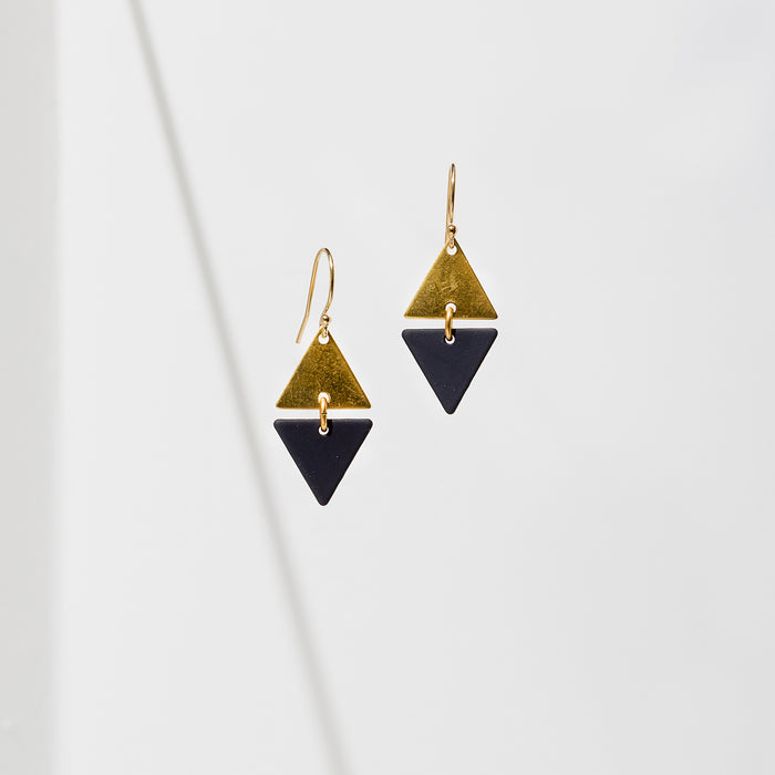 Larissa Loden Jewelry, Handmade in MN. Alta Earrings, A brass mini triangle accented with colored rubberized brass. Earrings are approx. 1 inch long. Gold filled and hypoallergenic ear wires.