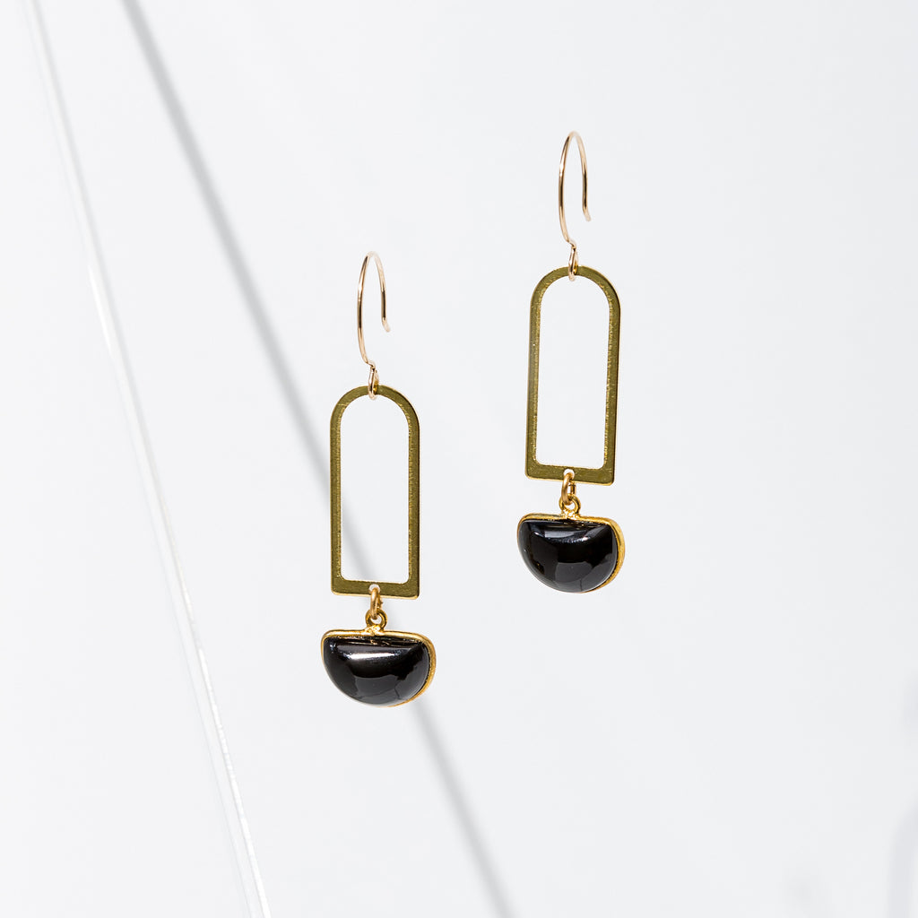 Larissa Loden Jewelry, Handmade in MN. Casablanca Earrings, Brass component with a half-moon gemstone. Earrings are approx. 2 inches long. Gold filled ear wires.