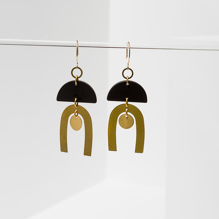 Larissa Loden Jewelry, Handmade in MN. Tulum Earrings, Rubberized half-moon shapes with brass components. Earrings are approx. 3 inches long. Gold filled ear wires.