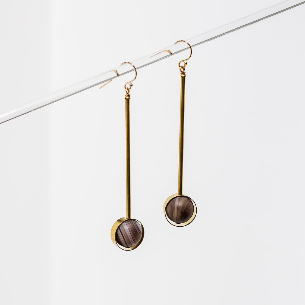 Larissa Loden Jewelry, Handmade in MN. Aberrant Earring in Coffee Agate, Brass bar components paired with matte gemstone beads. Earrings are approx. 3 inches long. Gold filled ear wires.