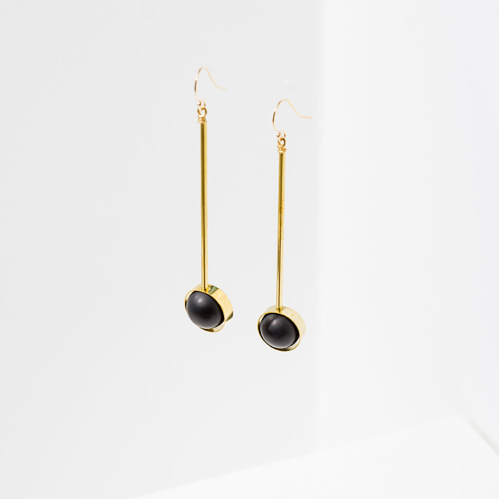 Larissa Loden Jewelry, Handmade in MN. Aberrant Earrings, Brass bar components paired with matte gemstone beads. Earrings are approx. 3 inches long. Gold filled ear wires.