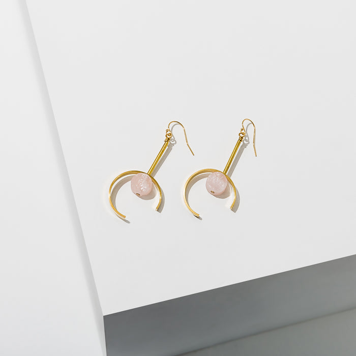 Larissa Loden Jewelry, Handmade in MN. Santorini Earrings, Open crescent shape with a natural cut gemstone in the center. Earrings are approx. 3 inches long. Gold filled ear wires.