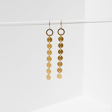 Larissa Loden Jewelry, Handmade in MN. Candra Earrings, Matte gold circle chain suspended from brass circles. Earrings are 2 1/4 inches long. Gold filled and nickel free ear wires.