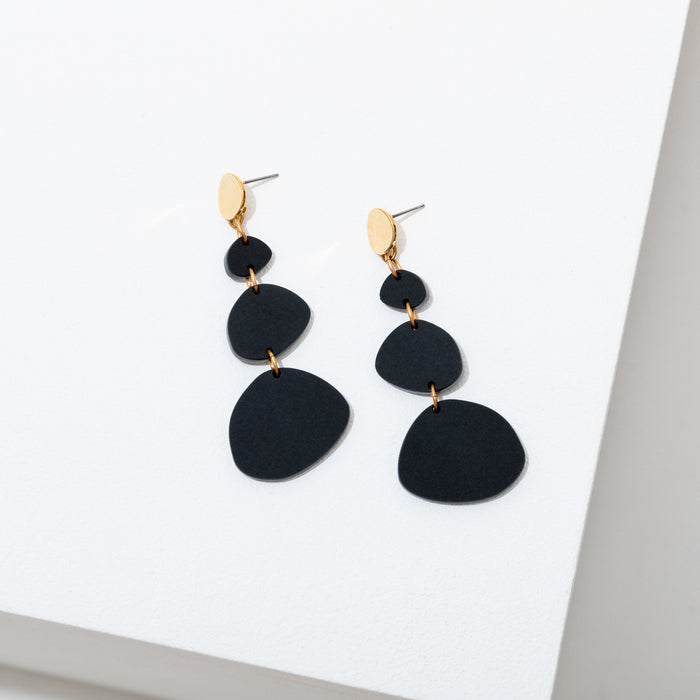 "Custom matte black acrylic ascending dot shapes on a circular post. The earrings are approx 2 3/4"" long gold plated stainless steel posts, hypoallergenic and nickel free."