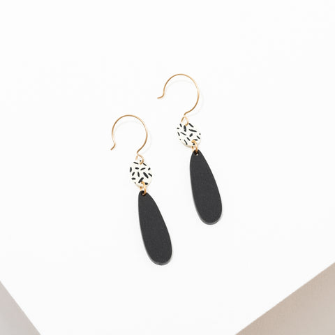 "Custom matte black acrylic shapes with black and white polka dot accents. The earrings are approx 2 1/2"" long on 14k gold filled ear wires, hypoallergenic and nickel free."